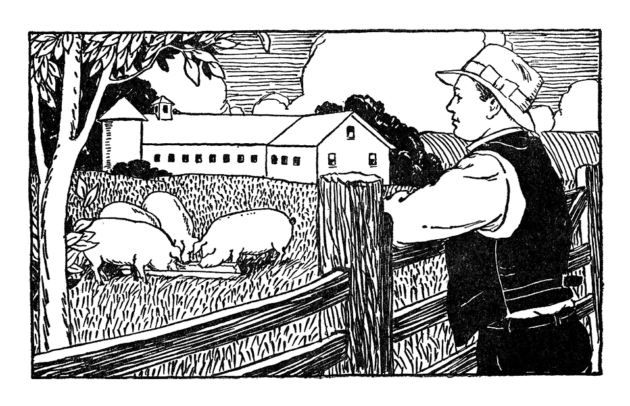 13344-vintage-illustration-of-a-famer-looking-over-pigs-on-his-farm-pv