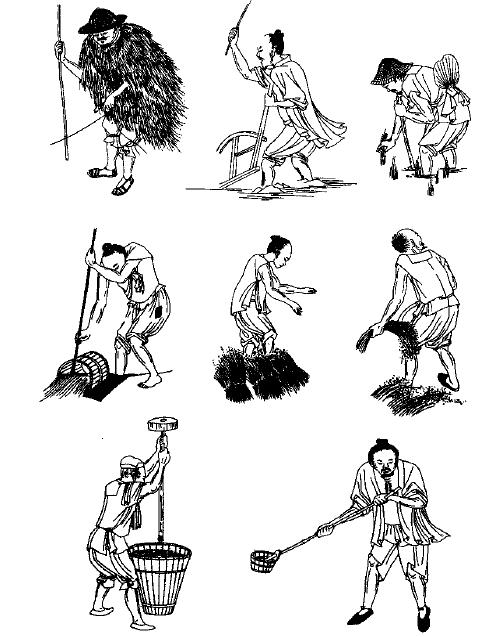 清-戴斗笠或推髻、著短衣短褲或蔉衣農民