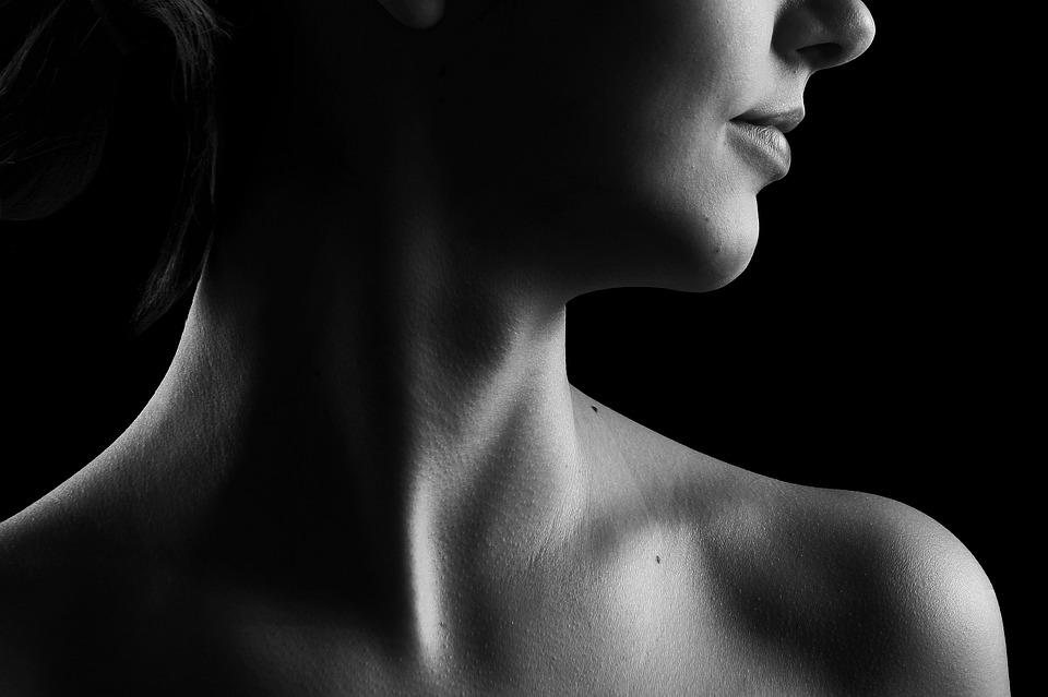 Beauty Girl Naked Skin Body Neck Black And White
