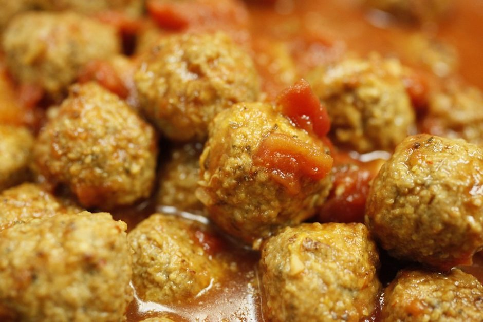 Fried Spicy Meal Hot Meat Balls Food Sauce Meat