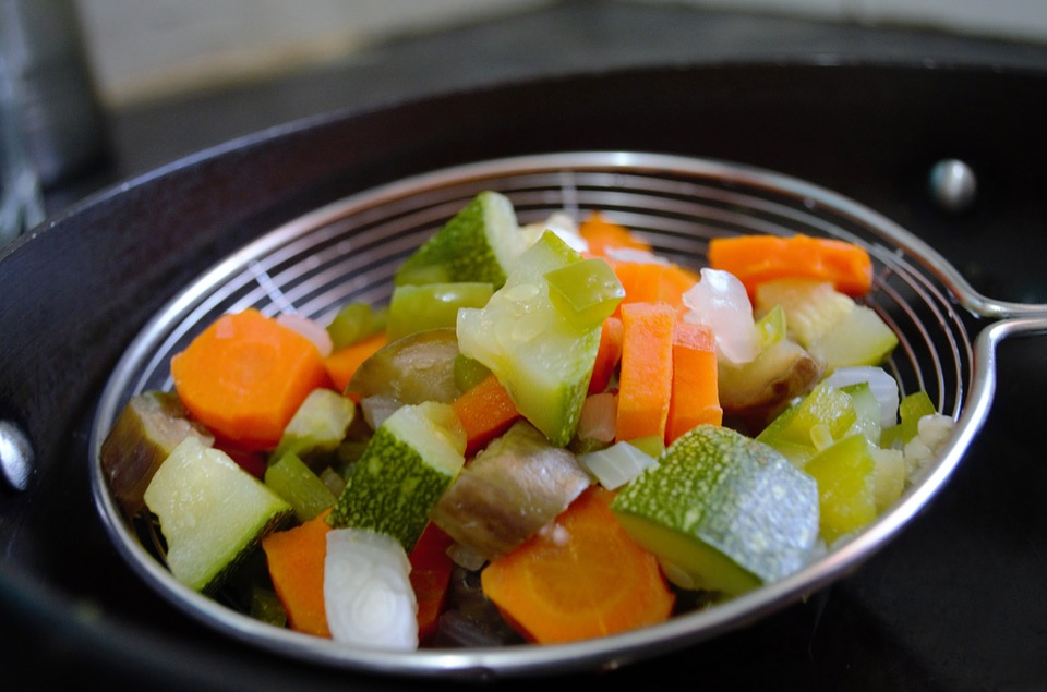 Vegetables Blanch Veggies Chopped Sieve Boiled