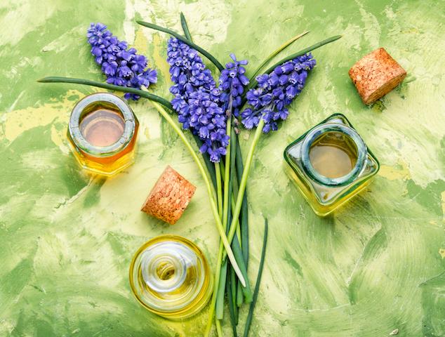 herbal oil and lavender flowers