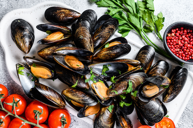 fresh uncooked mussels in shells. the concept of cooking in tomato sauce with parsley. gray background. top view