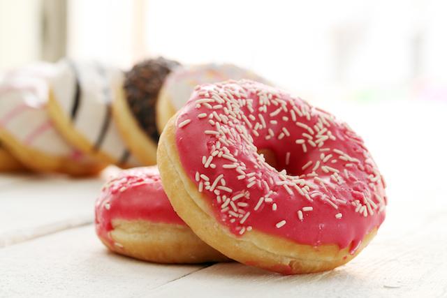 fresh tasty donuts with glaze