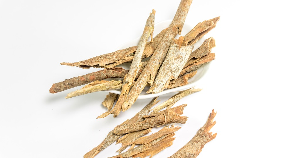 dried cassia ayurveda table background bark white
