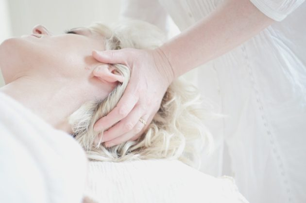 relaxation woman treatment massage head relax