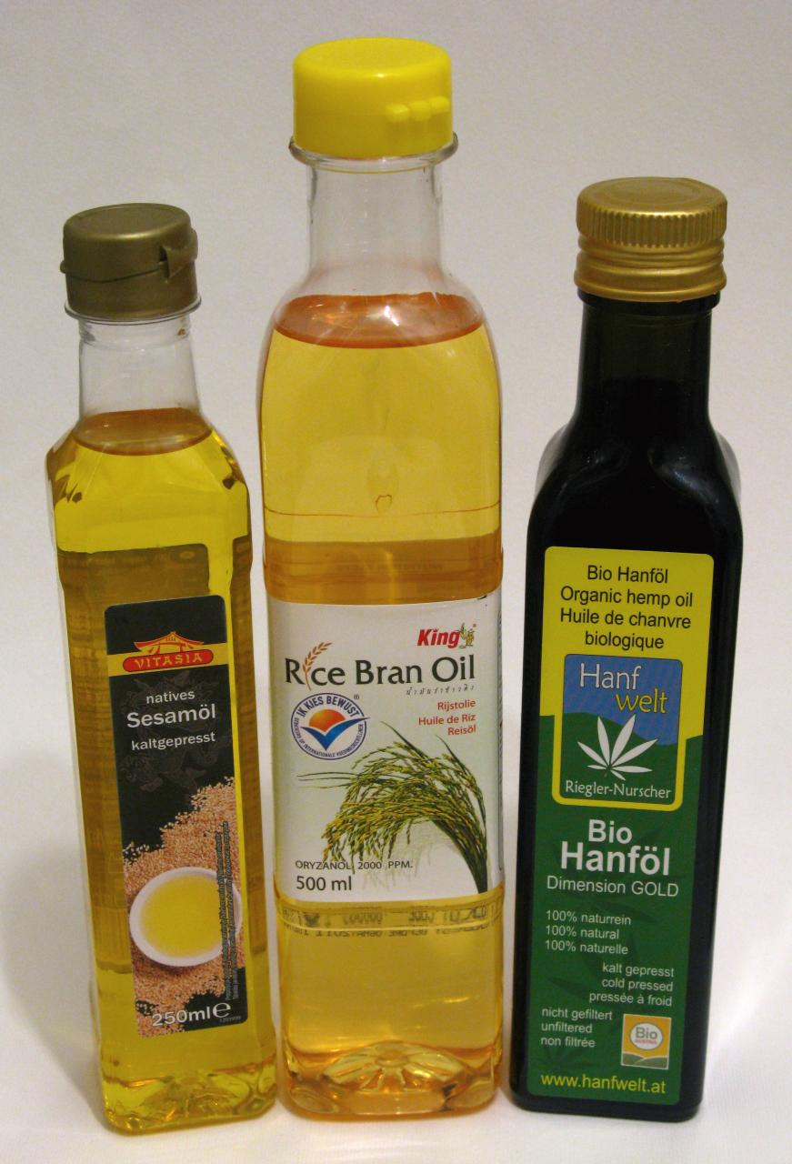 sesame oil rice bran oil hemp seed oil