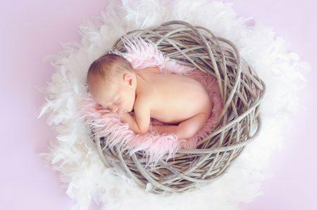 籠の中で眠る赤ちゃん