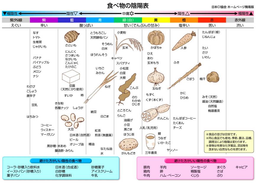 陰陽表~食物の陰陽表