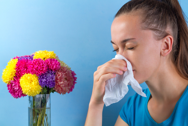 seasonal allergy to flowering plants and pollen. sneezing, nasal congestion, runny, allergic reaction. allergy concept
